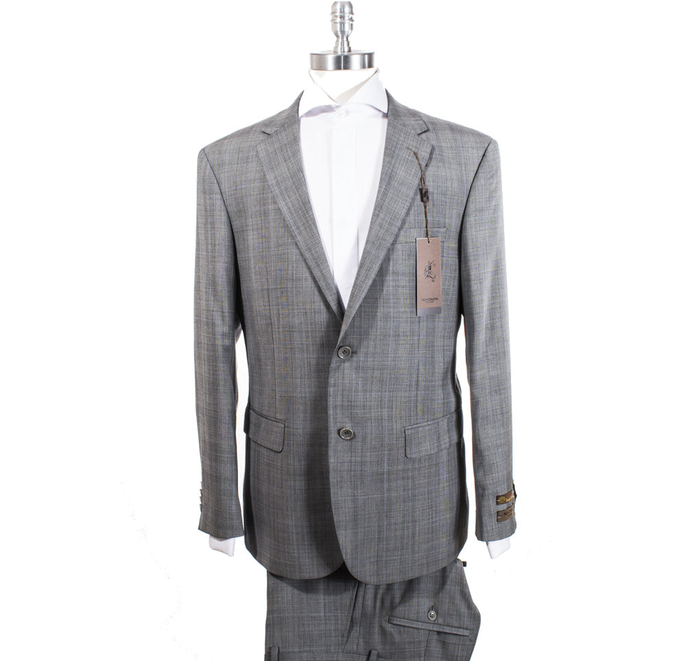 ProntoModa Super 140's Wool Suit Grey Plaid w/ Blue Window Pane 44717