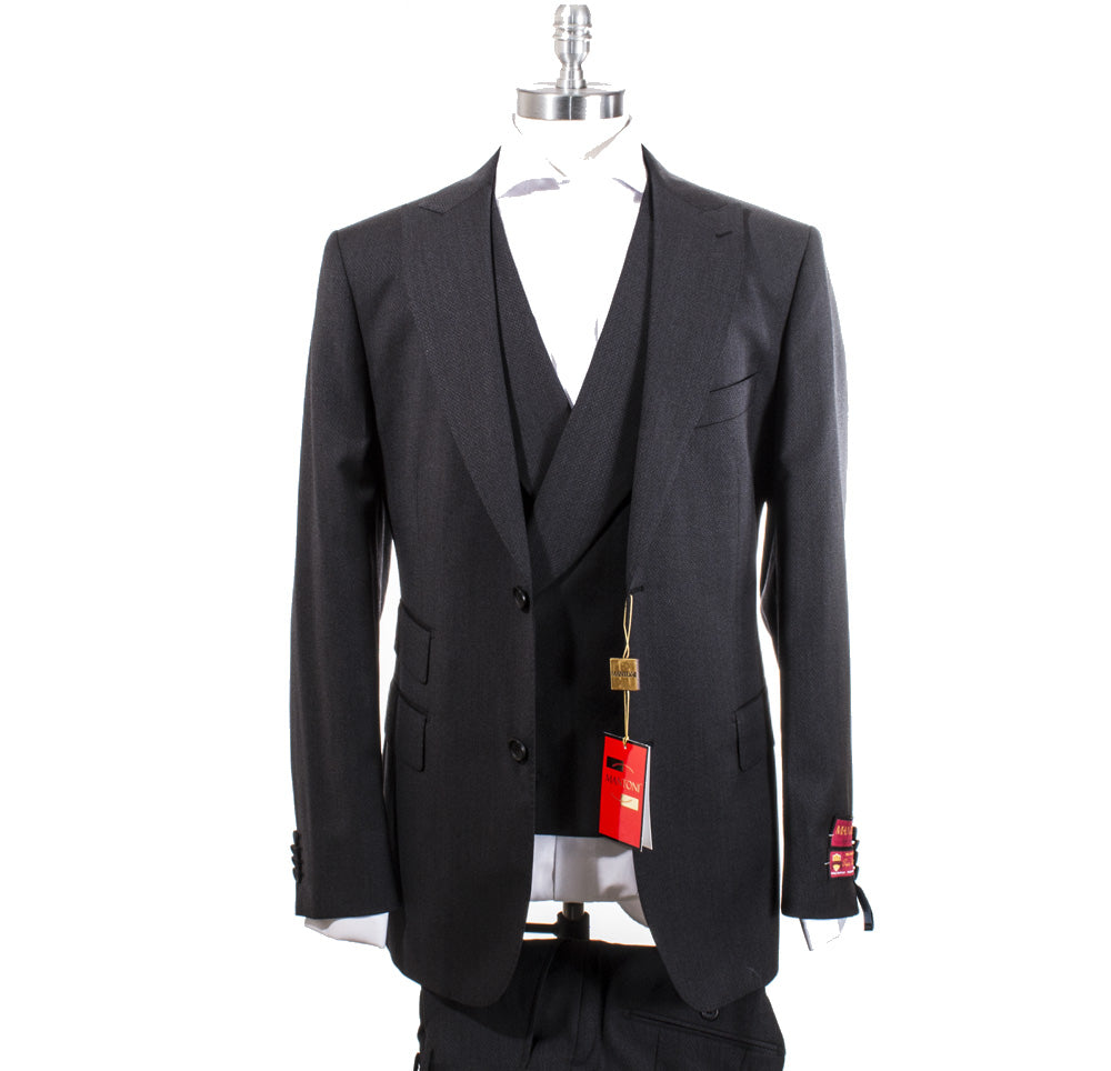 Mantoni Tone on Tone Black Vested Suit 87140/4