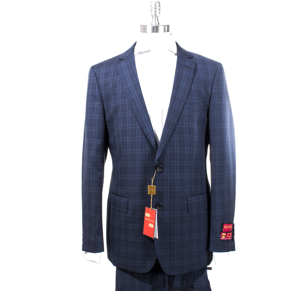 Mantoni Multi Blue Plaid Suit 87150/1