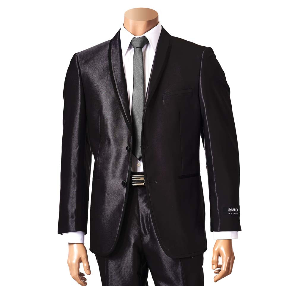 Inserch Shawl Collar Black Modern Fit Suit