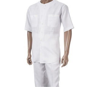 Inserch S/S Solid Linen Scoop Neck Shirt with Matching Pants 703C34-02 White