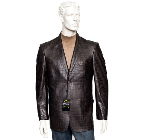 Zacchi Mickey Alligator Leatherette Brown Jacket (71102)