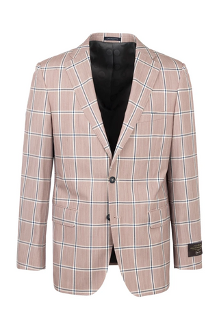 Dolcetto Mauve with Navy Windowpane Modern Fit, Pure Wool Jacket by Canaletto CV40.7123/1