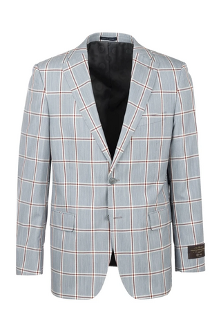 Dolcetto Jean Blue with Burgundy and White Windowpane Modern Fit, Pure Wool Jacket by Canaletto CV40.7123/2