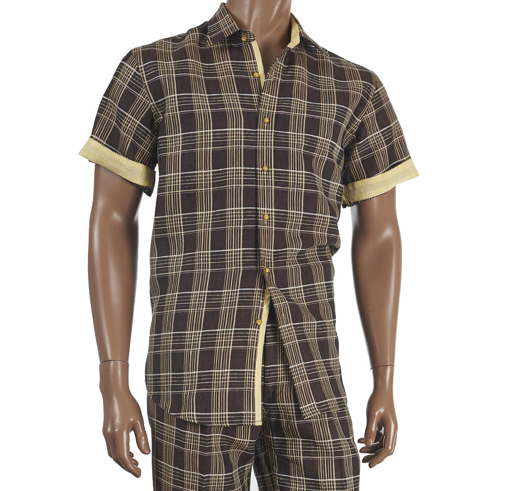 Inserch Short Sleeve Linen Set Brown 71732-25