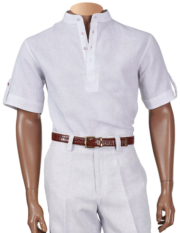 Inserch Linen Banded Collar Shirt 731-02 White (SHIRT ONLY)