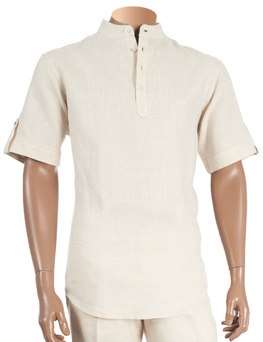 Inserch Linen Banded Collar Shirt 731-06 Oatmeal (SHIRT ONLY)