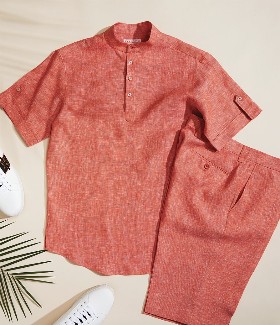 Inserch Linen Banded Collar Shirt 731-158 Tangy Orange (SHIRT ONLY)