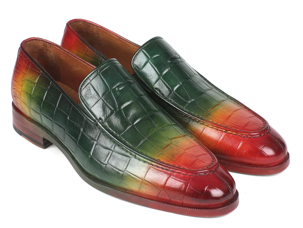 Paul Parkman Crocodile Embossed Calfskin Multicolor Loafer (ID#7339-SPR)
