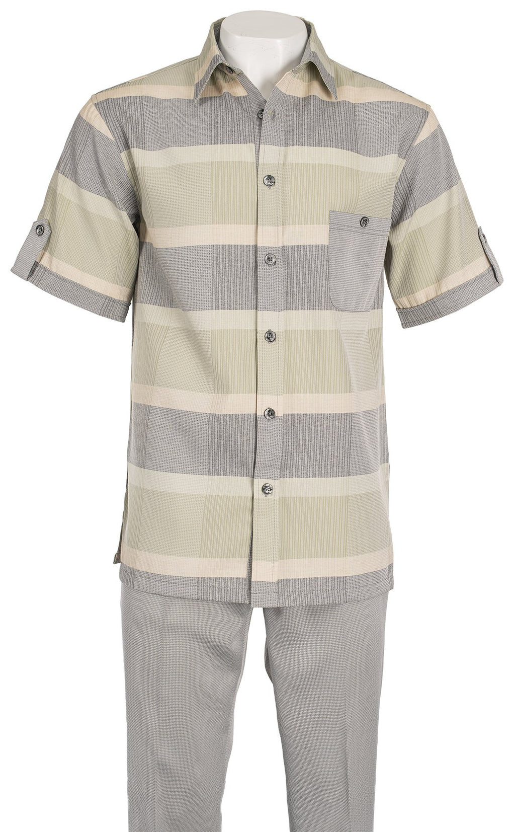 Inserch Giorgio Inserti S/S Shirt with Bold Stripe and Matching Pants Set 742-04 Lt. Gray