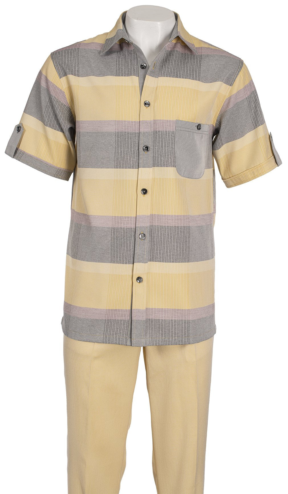 Inserch Giorgio Inserti S/S Shirt with Bold Stripe and Matching Pants Set 742-16 Yellow