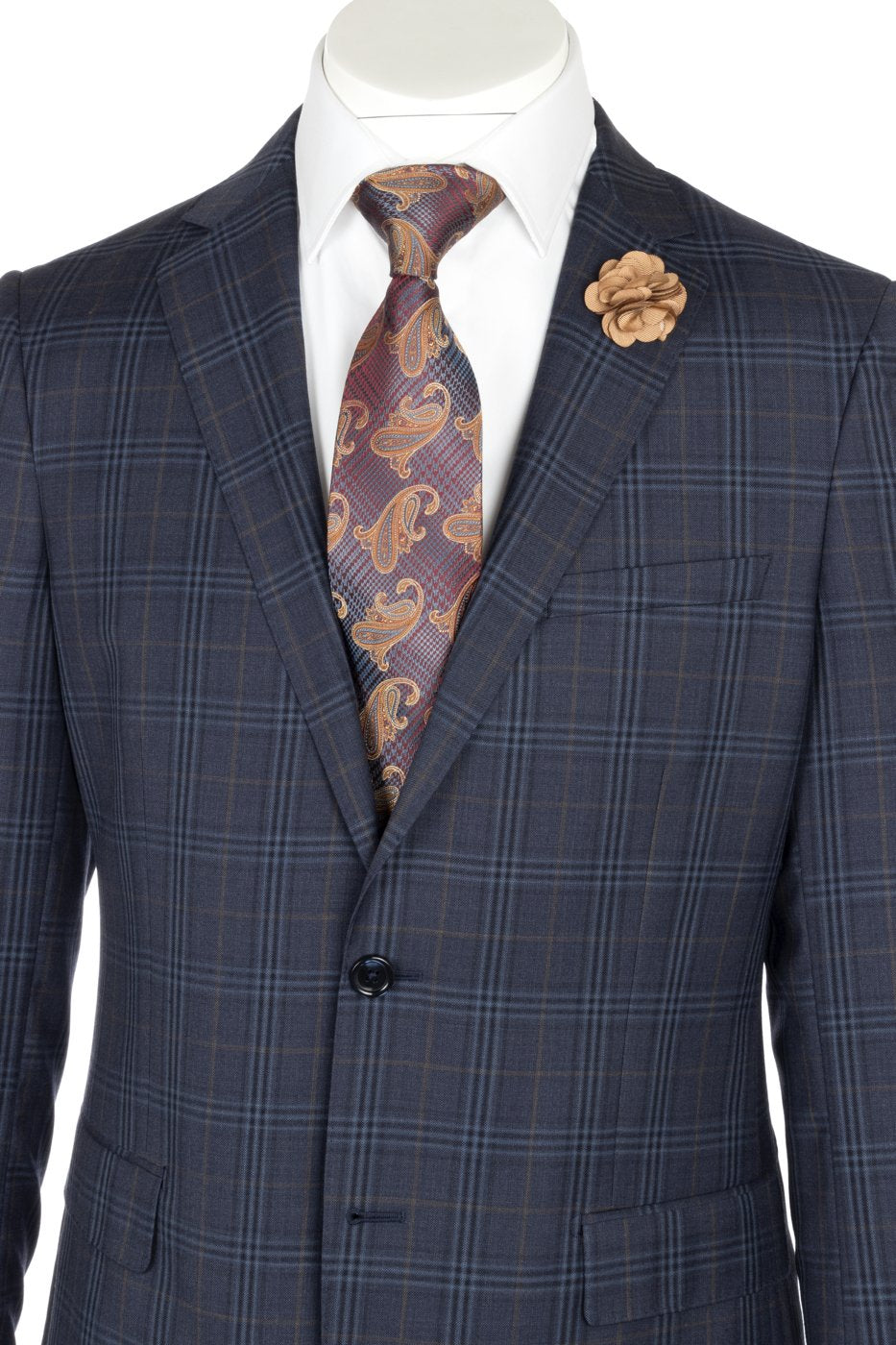 Porto Denim Blue with Orange and Blue Windowpane, Slim Fit, Pure Wool Suit by Tiglio Luxe 74264/2