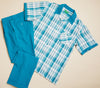 Inserch Giorgio Inserti S/S Check Shirt with Laydown Collar and Matching Pants 744-63 Green