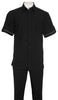 Inserch Giorgio Inserti S/S Shirt with Trim and Matching Pants Set 746-01 Black