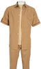 Inserch Giorgio Inserti S/S Shirt with Trim and Matching Pants Set 746-09 Khaki