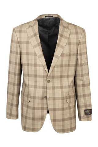 Dolcetto Camel Windowpane Modern Fit, Pure Wool Jacket by Canaletto CV44.7761/2