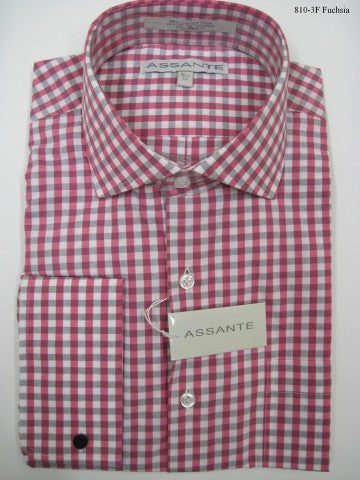 Assante Couture Pink Plaid Spread Collar W/ French Cuff (810-3F) (15.5 4/5)
