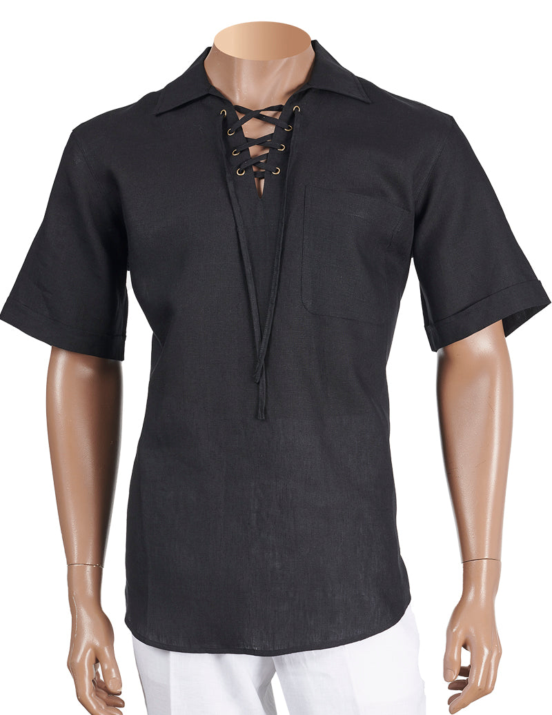 Inserch Linen Lacing Front Shirt 81110-01 Black (SHIRT ONLY)