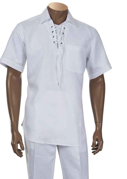 Inserch Linen Lacing Front Shirt 81110-02 White (SHIRT ONLY)