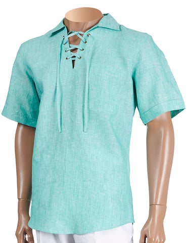 Inserch Linen Lacing Front Shirt 81110-144 Jade (SHIRT ONLY)