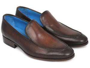 Paul Parkman Perforated Leather Loafers Brown - 874-BRW
