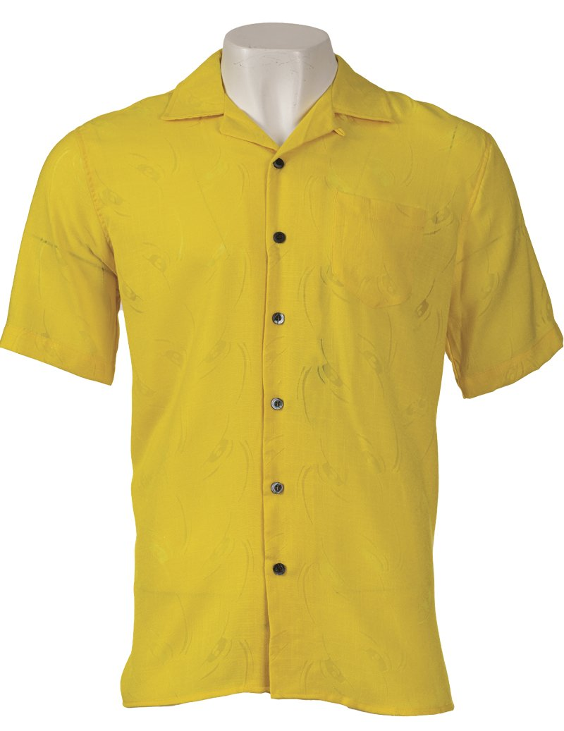 Inserch Rayon Blend Burnout Shirt with Print 87641-16 Yellow