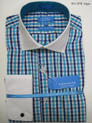 Assante Couture Aqua & Blue Plaid Spread Collar W/ French Cuff (901-3FW) (16.5 4/5)
