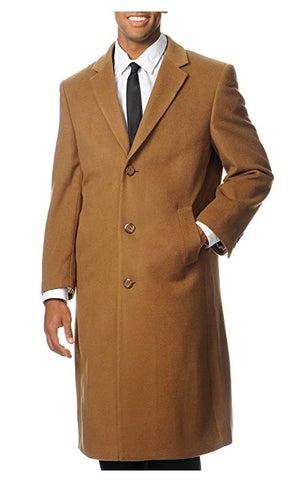 Prontomoda Men's Single Breasted Luxury Wool/Cashmere Full Length Topcoat CAMEL