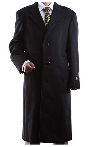 Prontomoda Men's Single Breasted Luxury Wool/Cashmere Full Length Topcoat BLACK