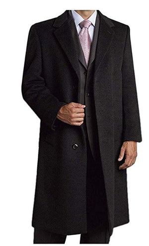 Prontomoda Men's Single Breasted Luxury Wool/Cashmere Full Length Topcoat CHARCOAL