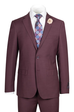 Porto Burgundy, Slim Fit, Pure Wool Suit by Tiglio Luxe - BURGUNDY