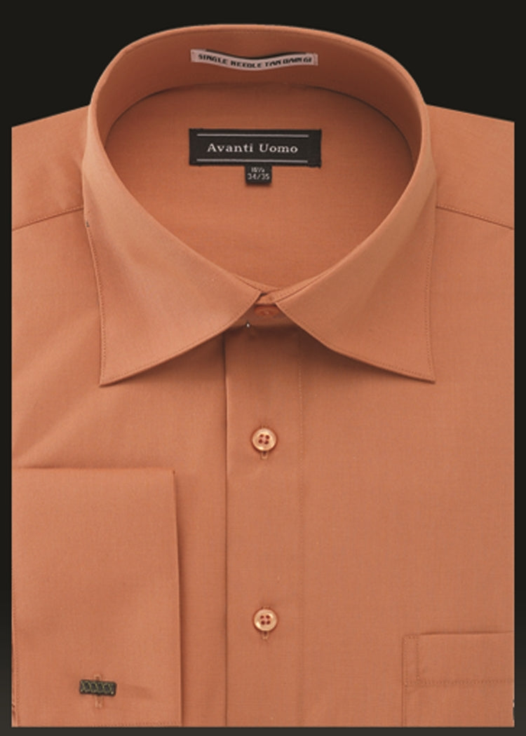 Avanti Uomo French Cuff Dress Shirt DN32M Burnt Orange