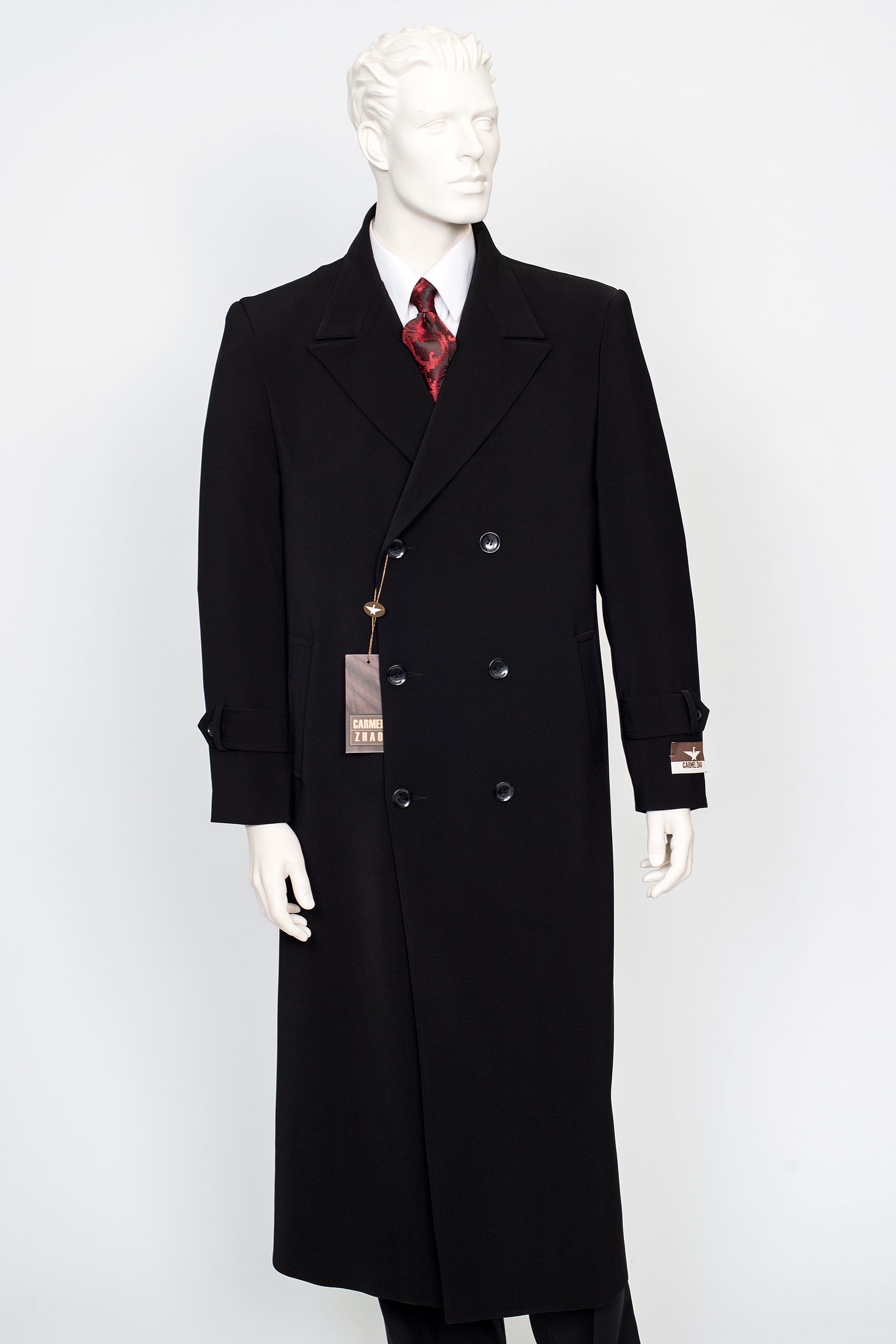 Carmel Zhao Duster Double Breast Coat Black CHICAGO
