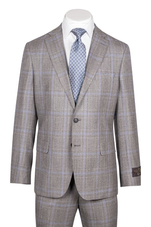 Dolcetto Modern Fit, Gray Houndstooth with purple windowpane, Pure Wool Suit by VITALE BARBERIS CANONICO Cloth by Canaletto Menswear CV27.828/1