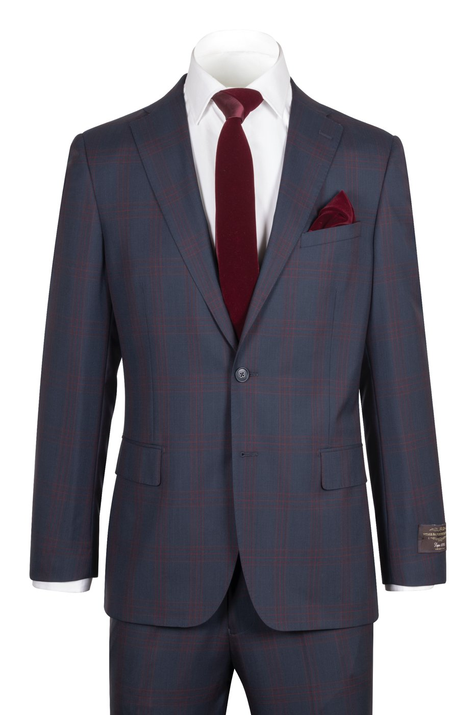 PORTO Slim Fit, Dark Navy with Red windowpane, Pure Wool Suit by VITALE BARBERIS CANONICO Cloth by Canaletto Menswear CN40.9130/2
