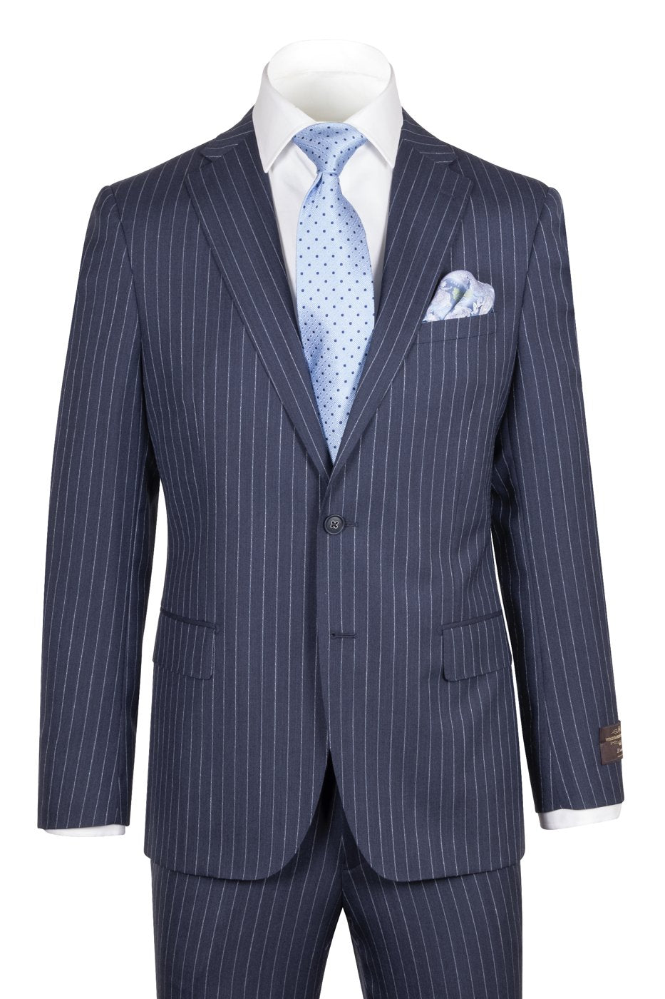 Dolcetto Modern Fit, Navy PIN-DOT Stripe, Pure Wool Suit by VITALE BARBERIS CANONICO Cloth by Canaletto Menswear CN95.939/3