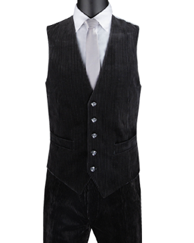 Vinci Slim Fit Corduroy Vest with Matching Pants (Black) CORD-1