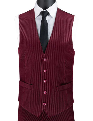 Vinci Slim Fit Corduroy Vest with Matching Pants (Burgundy) CORD-1