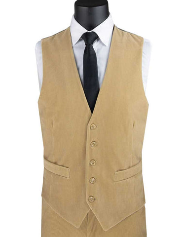 Vinci Slim Fit Corduroy Vest with Matching Pants (Khaki) CORD-1