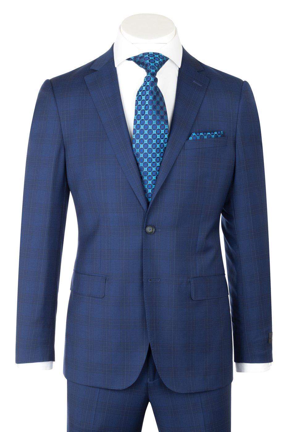 Porto Slim Fit, Cobalt Blue with windowpane, Pure Wool Suit by REDA Cloth by Canaletto Menswear CR141606/6