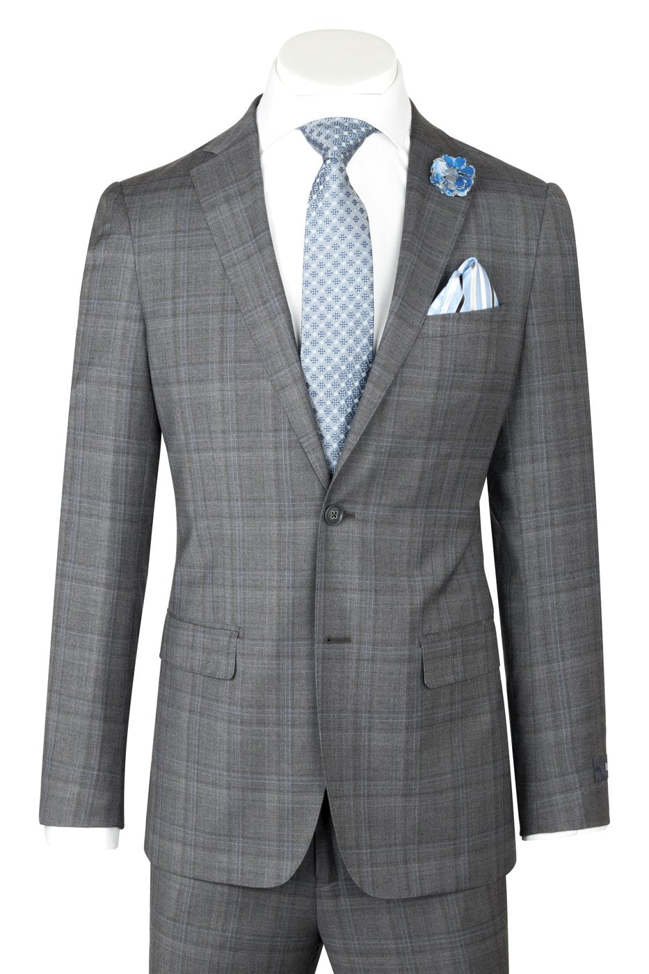 Porto Slim Fit Medium Gray with blue windowpane, Pure Wool Suit by Reda Cloth by Canaletto Menswear CR141607/4