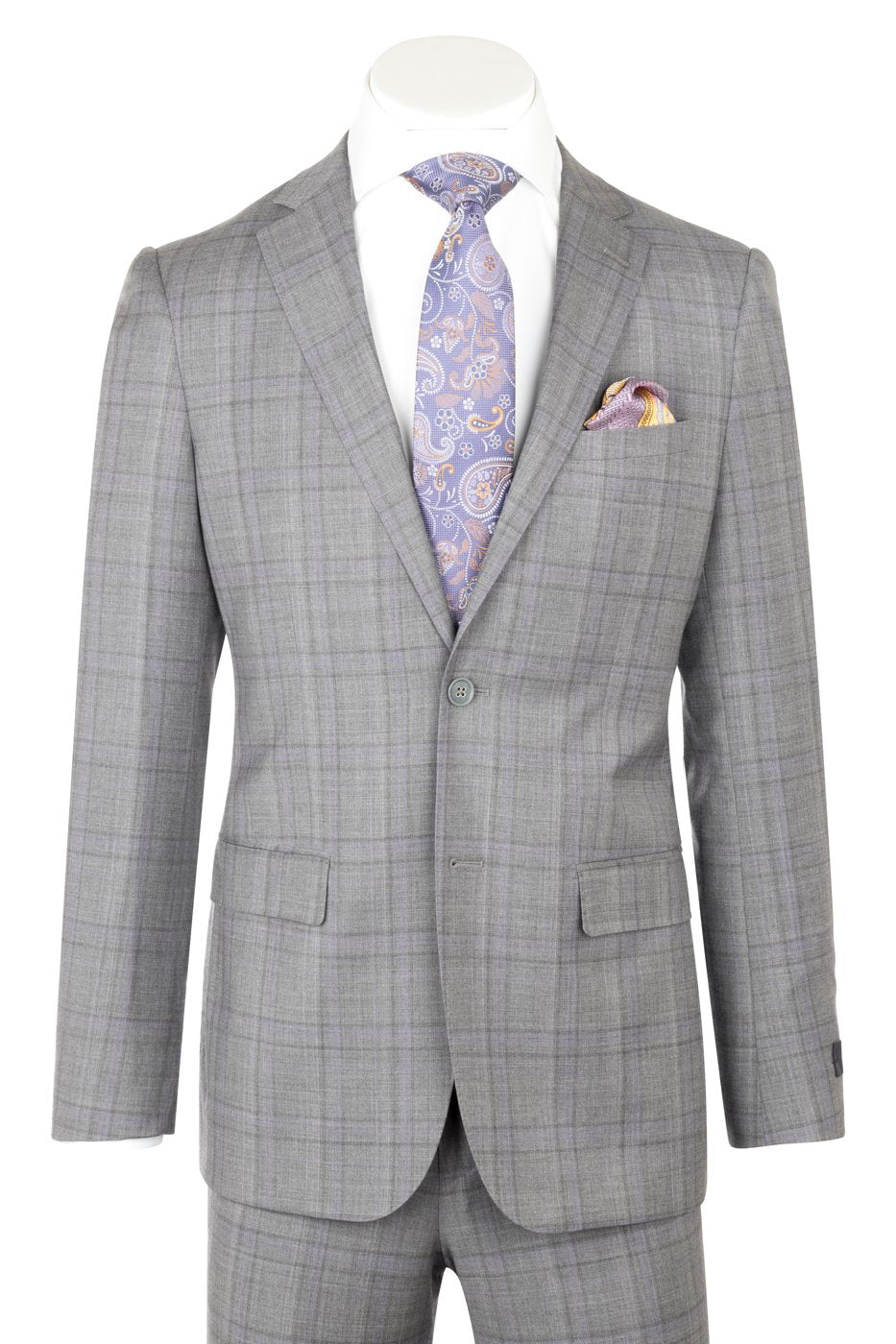 Porto Slim Fit, Medium Gray with Lavender windowpane, Pure Wool Suit by Reda Cloth by Canaletto Menswear CR141607/5