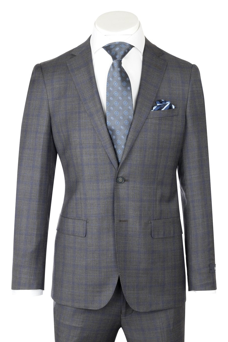 Dolcetto Modern Fit, Medium Gray with Blue windowpane, Pure Wool Suit by Reda Cloth by Canaletto Menswear CR188011/3