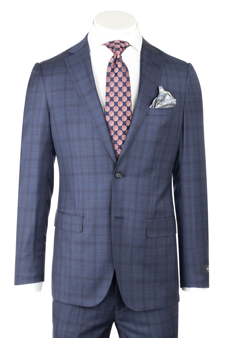 Porto Slim Fit Denim Blue with navy blue windowpane, Pure Wool Suit by Reda Cloth by Canaletto Menswear CR188011/4