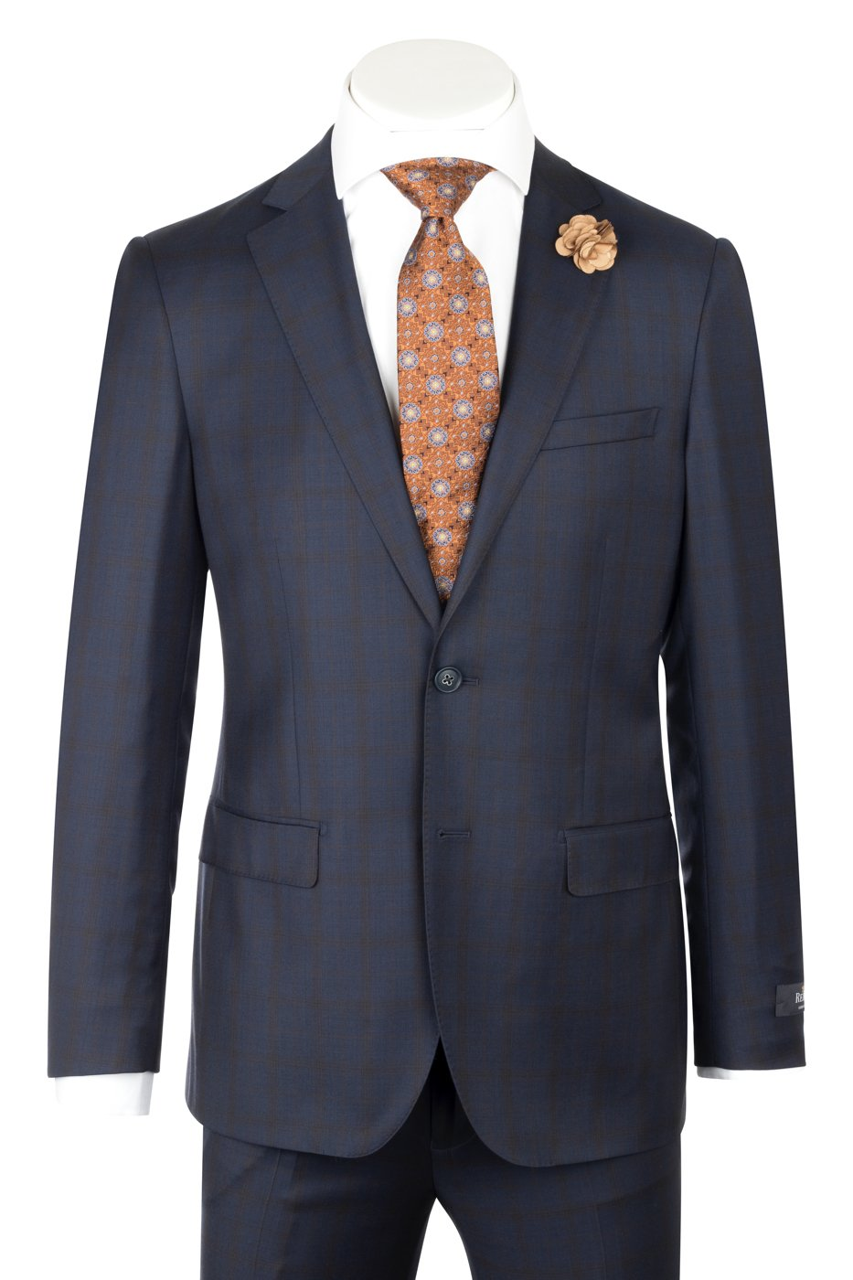 Porto Slim Fit, Navy with Copper windowpane, Pure Wool Suit by Reda Cloth by Canaletto Menswear CR188011/5