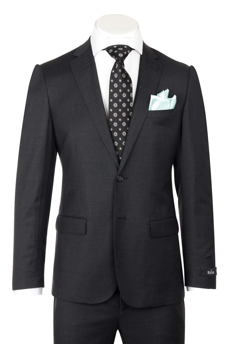 PORTO Slim Fit, Charcoal Gray, Pure Wool Suit by REDA Cloth by Canaletto Menswear CRS901