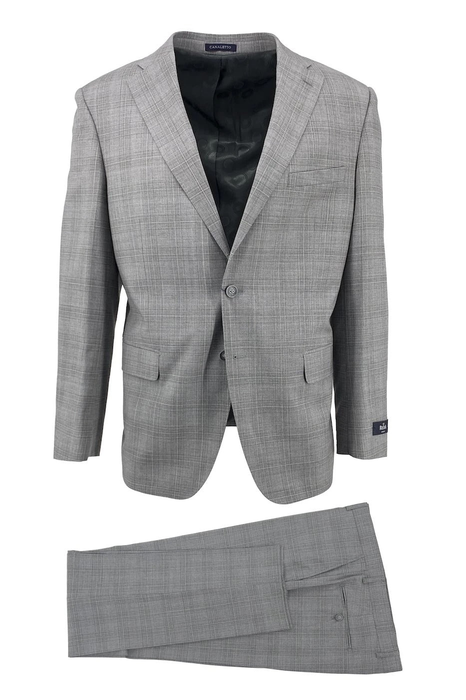 Canaletto Gray with Oatmeal Windowpane Dolcetto Modern Fit Pure Wool Suit by Reda CR141606/1