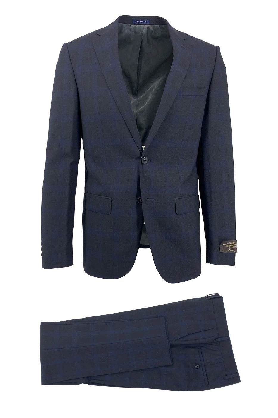 Canaletto Midnight Blue with Navy Windowpane Dolcetto Modern Fit Pure Wool Suit by Vitale Barberis Canonico Cloth CV2402362