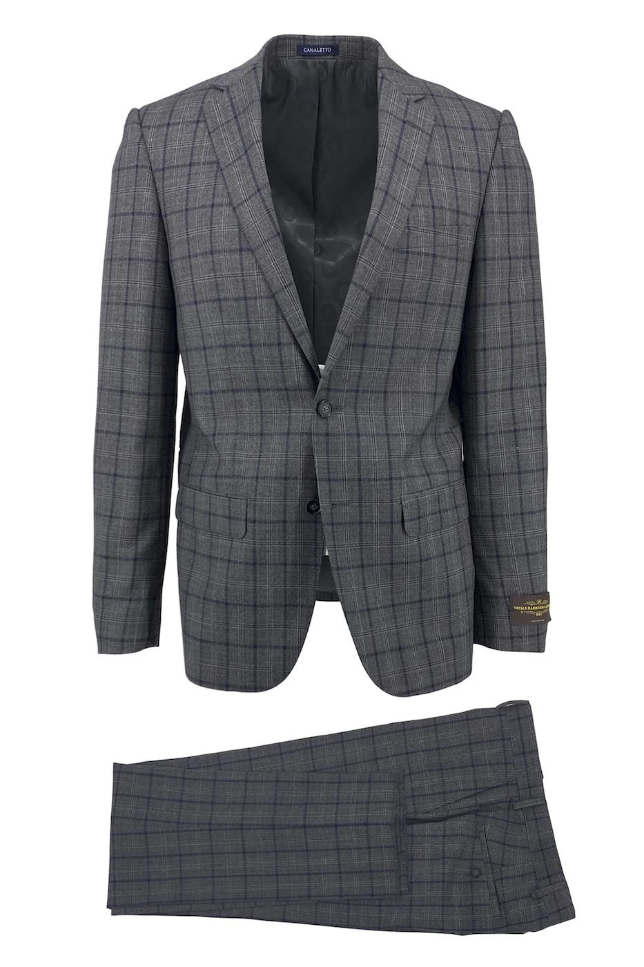 Canaletto Gray with Navy Windowpane Dolcetto Modern Fit Pure Wool Suit by Vitale Barberis Canonico Cloth CV27.152/1