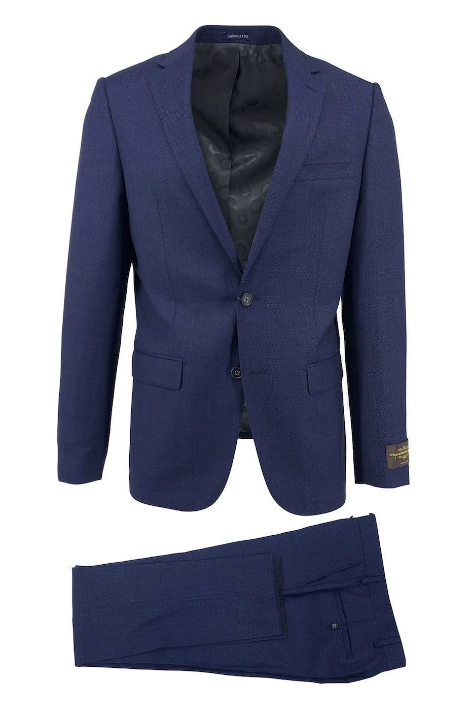 Canaletto Navy Nailhead Dolcetto Modern Fit Pure Wool Suit by Vitale Barberis Canonico Cloth CV511.801/86
